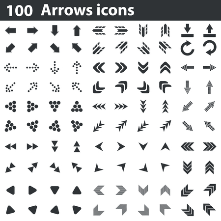 doubled: 100 arrows icons set, black, on white background