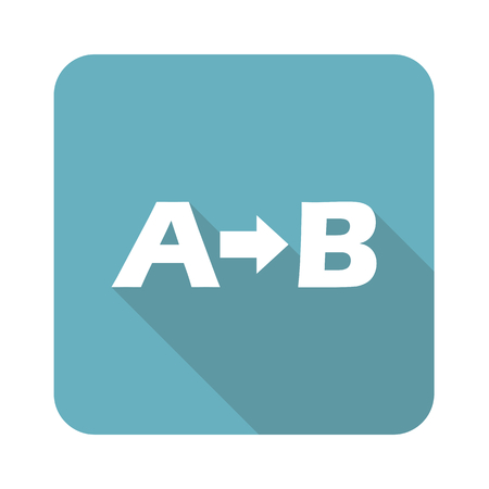 derivation: A-B logic icon, square, with long shadow, isolated on white
