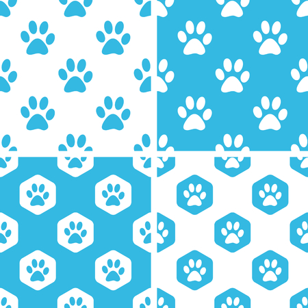 track pad: Animal paw patterns set, simple and hexagonal, blue and white Illustration