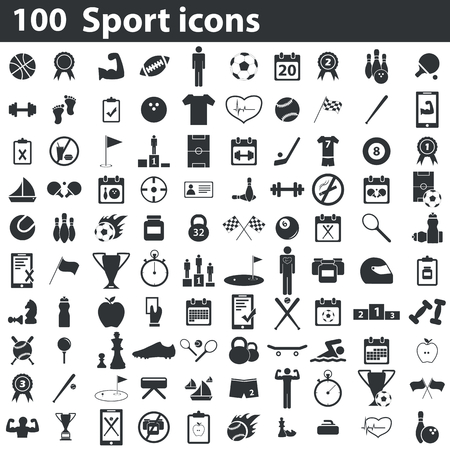 100 スポーツ アイコン セット、黒、白の背景