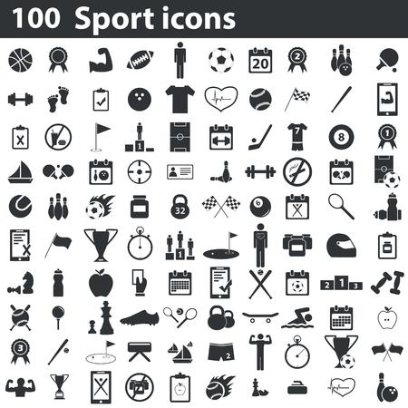symbol sport: 100 Sport Icons Set, schwarz, auf weißem Hintergrund