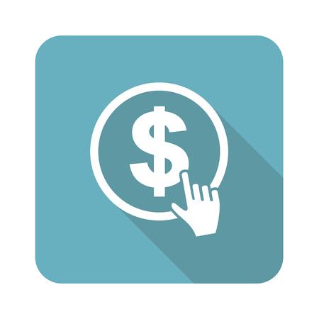 dollar: Dollaro click sull'icona, quadrata, con una lunga ombra, isolato su bianco