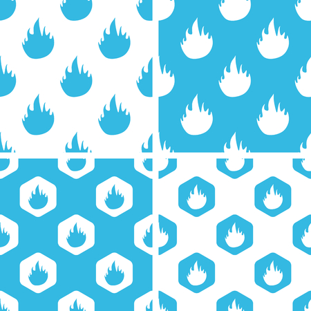 blue flame: Flame patterns set, simple and hexagon, blue and white