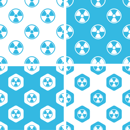fallout: Radiohazard patterns set, simple and hexagon, blue and white Illustration