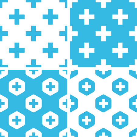 mathematical operation: Plus symbol patterns set, simple and hexagon, blue and white