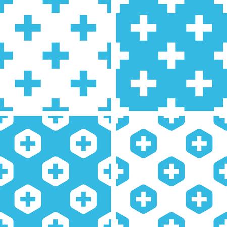 plus symbol: Plus symbol patterns set, simple and hexagon, blue and white