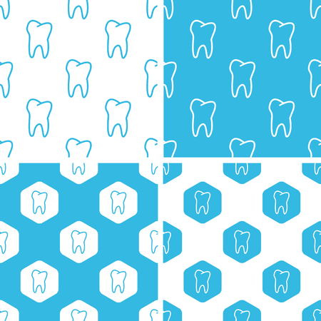 Tooth patterns set, simple and hexagon, blue and white