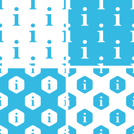 Information patterns set, simple and hexagon, blue and white