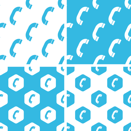 phone receiver: Phone receiver patterns set, simple and hexagon, blue and white