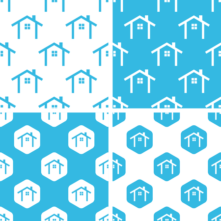 cottage: Cottage patterns set, simple and hexagon, blue and white Illustration