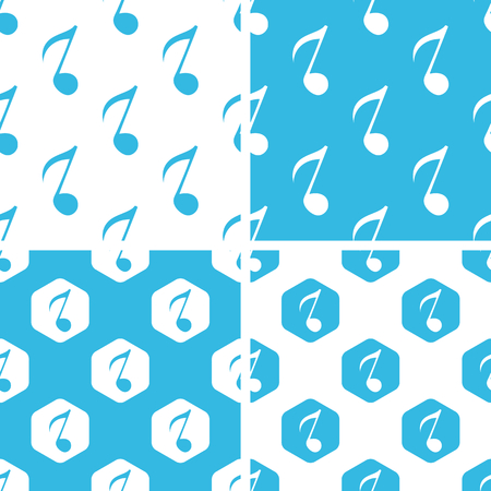 eighth note: Eighth note patterns set, simple and hexagon, blue and white