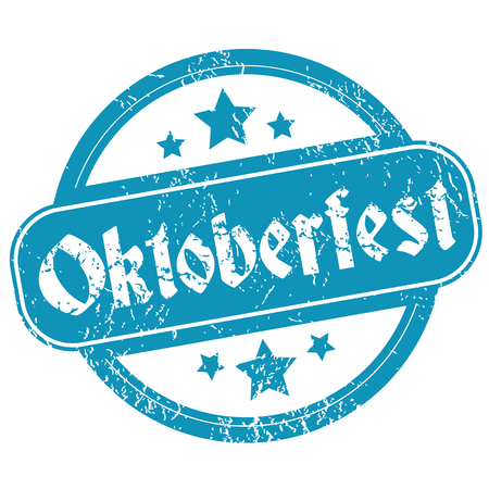 Oktoberfest round rubber stamp, blue grunge with stars, isolated on white