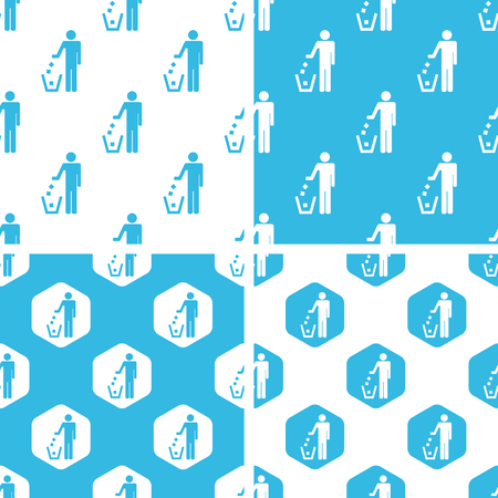 keep clean: Keep clean patterns set, simple and hexagon, blue and white