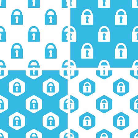 locked: Locked padlock patterns set, simple and hexagon, blue and white