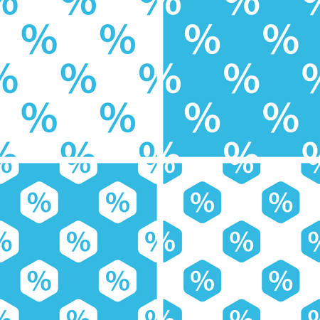 web store: Percent patterns set, simple and hexagon, blue and white Illustration