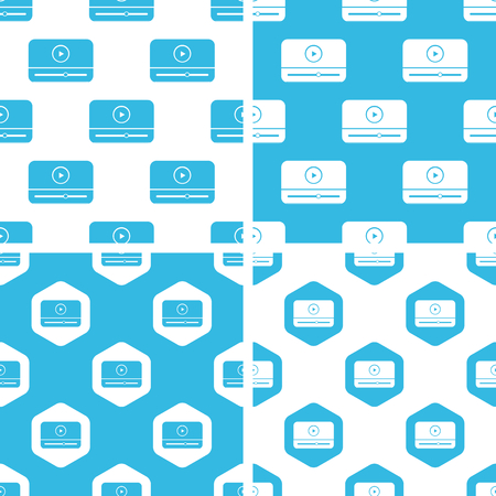 windows media video: Mediaplayer window patterns set, simple and hexagon, blue and white