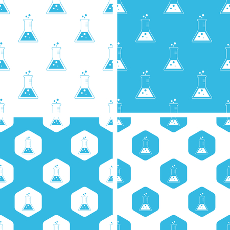 reagent: Conical flask patterns set, simple and hexagon, blue and white Illustration