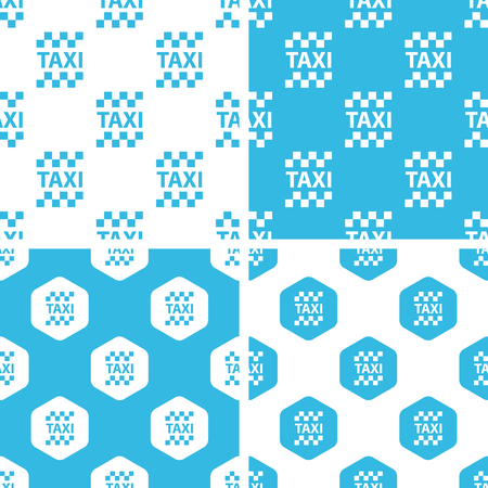 chequer: Taxi patterns set, simple and hexagon, blue and white Illustration