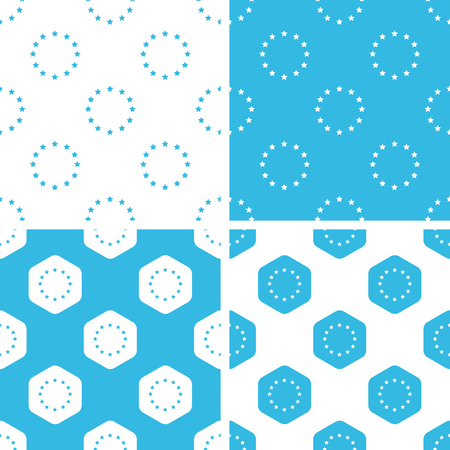 eu: EU emblem patterns set, simple and hexagon, blue and white
