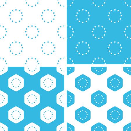 european integration: EU emblem patterns set, simple and hexagon, blue and white