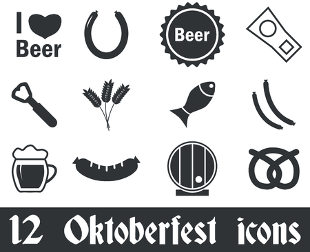 oktoberfest food: 12 Oktoberfest icons set, black, on white background
