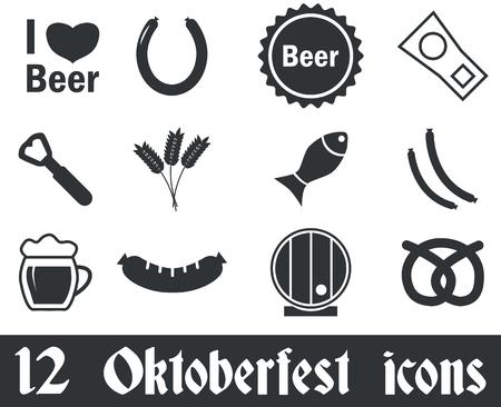 12 Oktoberfest icons set, black, on white background