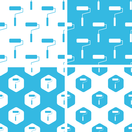 blue roller: Paint roller patterns set, simple and hexagon, blue and white Illustration