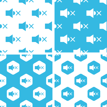 muted: Muted loudspeaker patterns set, simple and hexagon, blue and white
