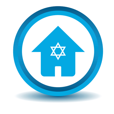 jewish home: Jewish house icon, blue, 3D, isolated on white