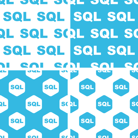 sql: SQL patterns set, simple and hexagon, blue and white