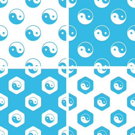 Ying yang patterns set, simple and hexagon, blue and white Illustration