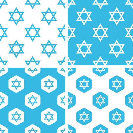 estrella de david: Estrella de David patrones y simple conjunto y el hexágono, azul y blanco Vectores