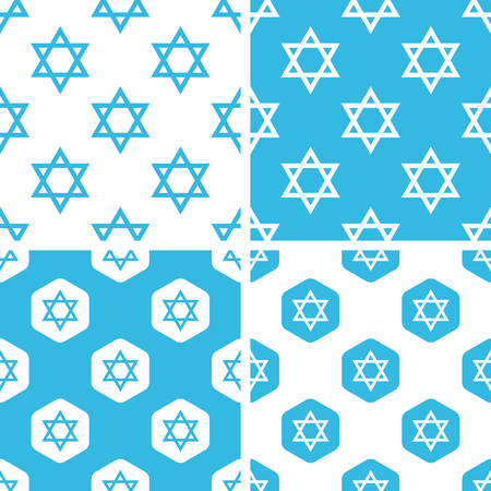 jewish star: Star of David patterns set, simple and hexagon, blue and white