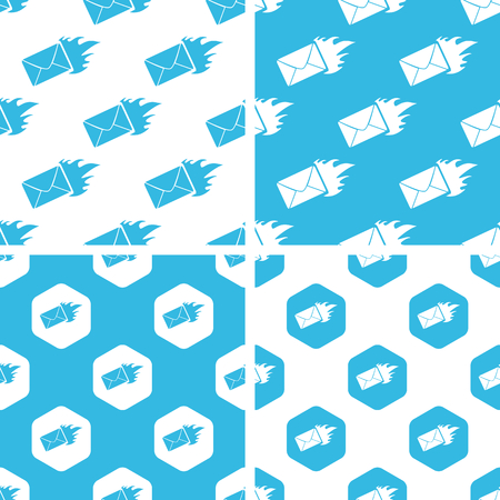 meaningful: Burning envelope patterns set, simple and hexagon, blue and white Illustration