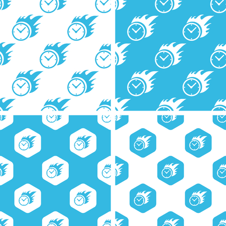 bounds: Burning clock patterns set, simple and hexagon, blue and white