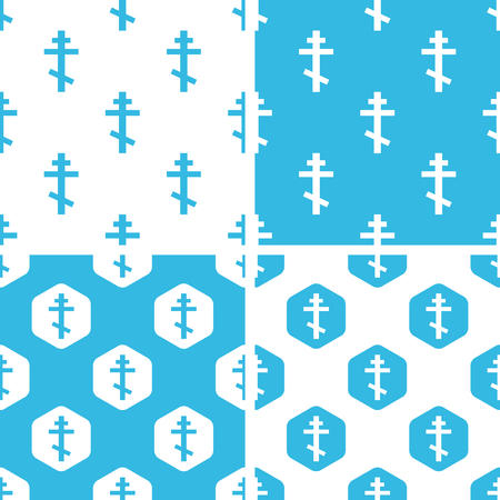 orthodox: Orthodox cross patterns set, simple and hexagon, blue and white
