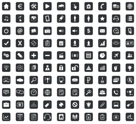 100 Webdesign icons set, in black squares, on white background