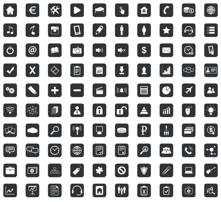100 Webdesign icons set, in black squares, on white background