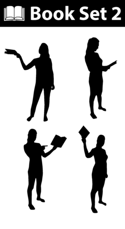 black woman: Silhouette book set 2, woman silhouette with book, black, on white background