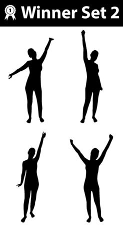 siluetas mujeres: ganador silueta conjunto 2, silueta de la mujer, posturas ganador, negro, sobre fondo blanco Vectores