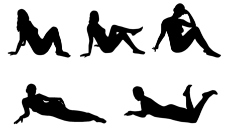 female pose: Woman silhouette set, sitting and lying woman silhouette, black, on white background