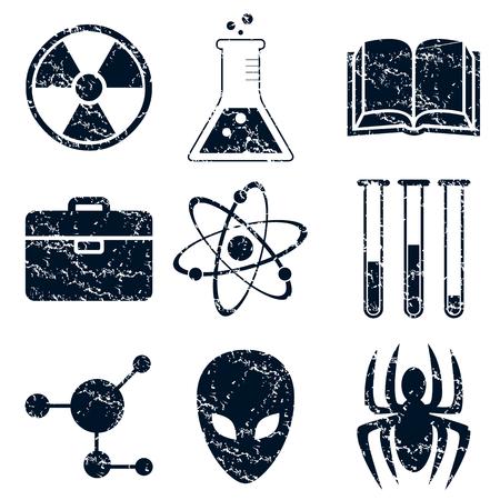 bage: Science icons set, grunge, black, on white background