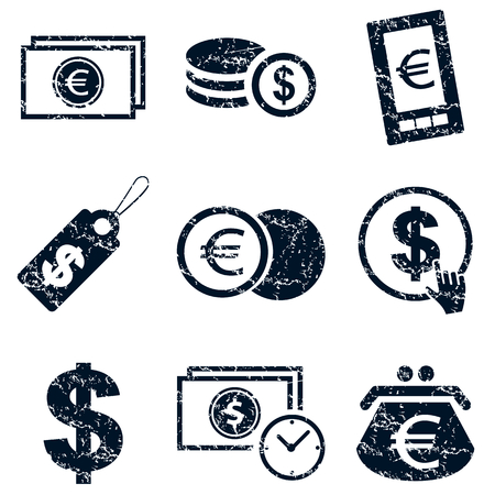 rouleau: Currency icons set, grunge, black, on white background Illustration