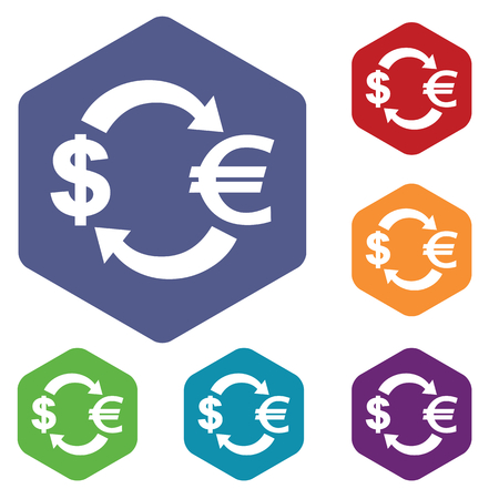 fondos violeta: Dollar-euro exchange icons set, in hexagon, on colored circles, isolated on white
