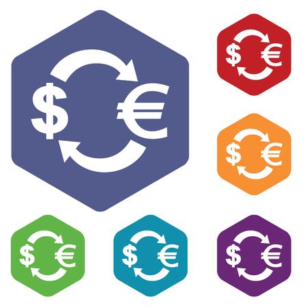 fondos violeta: iconos de cambio dólar-euro establecen, en hexágono, en círculos de colores, aislado en blanco Vectores