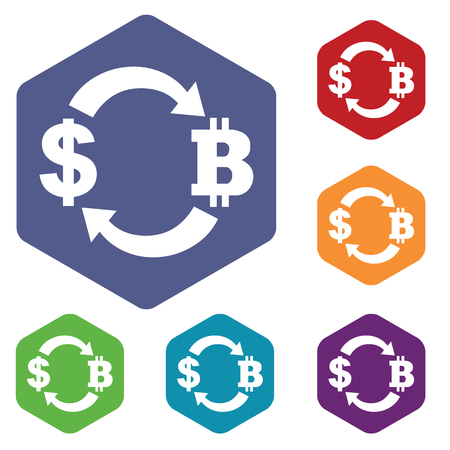 fondos violeta: Dollar-bitcoin exchange icons set, in hexagon, on colored circles, isolated on white Vectores