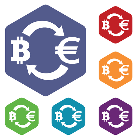 fondos violeta: iconos de cambio de Bitcoin-Euro Set, en el hexágono, en los círculos de colores, aislados en blanco