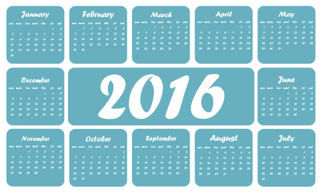 numbers clipart: Blue 2016 calendar, in English, squares on white background
