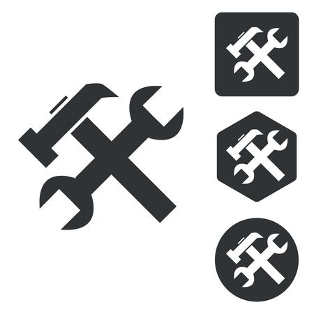 repairs: Repairs icon set, monochrome, isolated on white Illustration