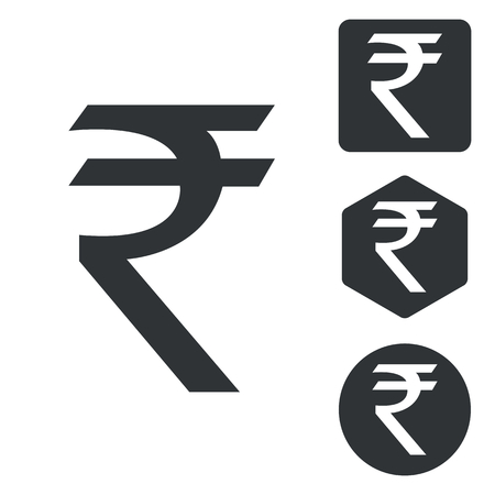 rupee: Indian rupee icon set, monochrome, isolated on white Illustration